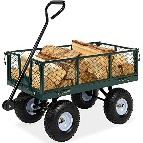 lawn carts Best Choice Products Heavy-Duty Steel Garden Wagon Lawn Utility Cart w/ 400lb Weight Capacity, Removable Sides, Long Handle, and 10in Tires - Green