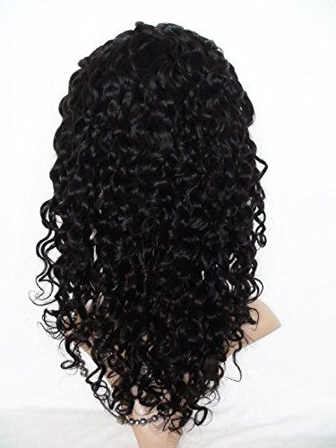 High-Quanlity Front Lace Wig Real With Stretch Lace Back Cambodian Virgin Remy Human Hair Deep Wave Color #1b(trademark:DaJun)