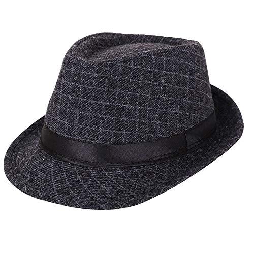 AIEOE - Sombrero Hombre Boda Panamá Jazz con ala Ancha Gorro de Copa Disfraz Trilby Hat Adulto Caballeros Sombrero Invierno Cálido para Fiesta Viaje