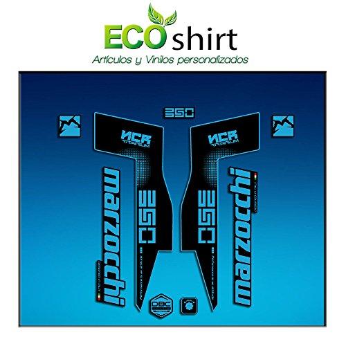 Ecoshirt ID-N7VJ-NFX5 Stickers Fork Marzocchi 350 NCR Titanium Am72 Aufkleber Decals Autocollants Fourche Gabel Fourche Fourche Bleu Clair