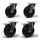 LOT991 - Lote de 4 ruedas giratorias y freno, diámetro de 100 mm, de goma, enmarcadas en chapa de acero tratada con zinc, elástico de rodamiento con rodillo, desplazamiento fácil, silenciosas, para exteriores, color negro