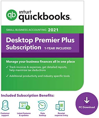 QuickBooks Desktop Premier Plus 2021 Accounting Software for Small Business 1 Year Subscription product image