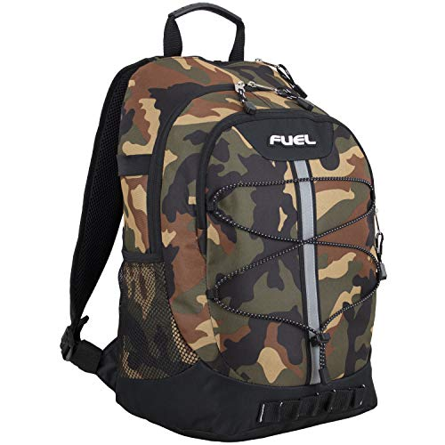 Fuel Terra Sport Spacious School Backpack with Front Bungee, Black/Camo Print