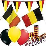 66-teiliges Dekoset * Belgien * für eine Länder-Party   mit Fahne + Flagge + Wimpelkette + Luftballons + Luftschlangen   Deko Dekoration Set Mottoparty EM WM Eurovision Song Contest Nation...