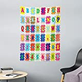 ABAKUHAUS ABC Puzzle Wandteppich & Tagesdecke, Alphabet & Zahlen, aus Weiches Mikrofaser Stoff Dreck abweichender Digitaldruck, 110 x 150 cm, Mehrfarbig