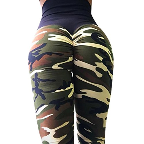BakeLIN Sport Leggings Damen, Camouflage Drucken Yoga Hosen High Waist Push Up Fitness Gym Pants (S~XL, Armee grün Grau Rose rot Violett)...