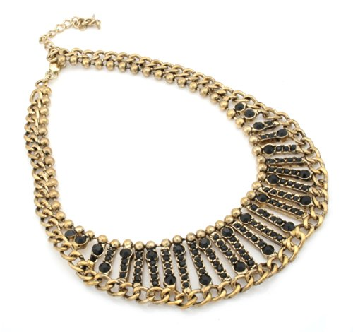 Zest Chunky Golden Collar Necklace with Curb Chain & Onyx Stones