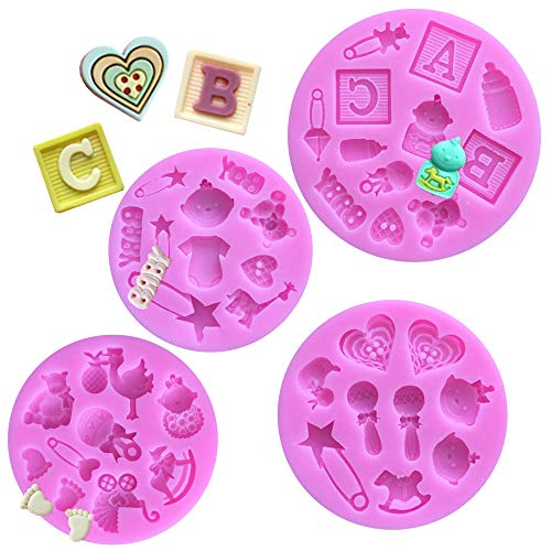 Ziyero Mini 3D Baby Shower Fondant Decoración Silicona Mold Cochecito Silicona Molde Suave Fácil de Limpiar, para Hacer Azúcar DIY, Cubitos de Hielo, Jabón, Decoración para Hornear—4 Piezas, Púrpura