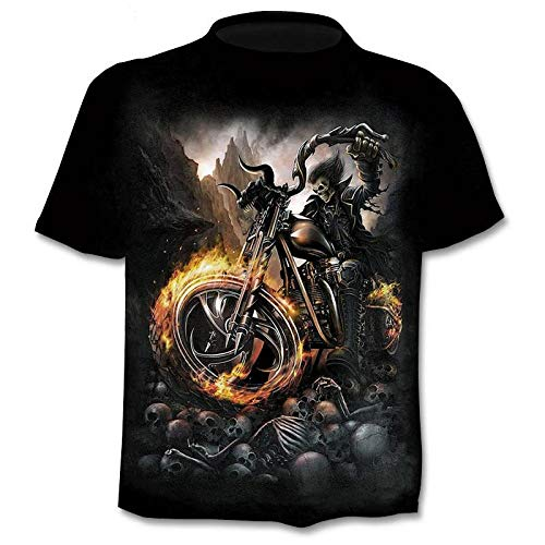 M Melcom Men's Polyester Ghost Rider Graphical Printed Regular Fit T-Shirt (Multicolour , Medium)