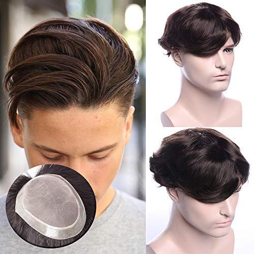 TESS Toupet für Männer Extensions Echthaar Toupee Herren Pony Haarteil Haarverlängerung Dunkelbarun Perücken 15 x 20 cm Mono Netz
