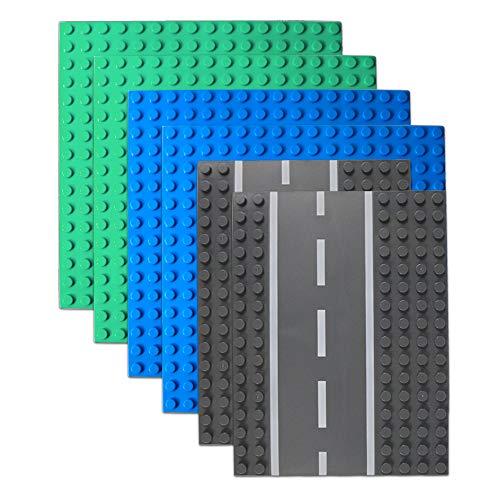 6 Pack Large Blocks Baseplates, 4 Pack One-Side Baseplates, 2 Pack Straight Road Baseplates, Compatible with Duplo, Mega and Others Major Brand Bigger Size Bricks