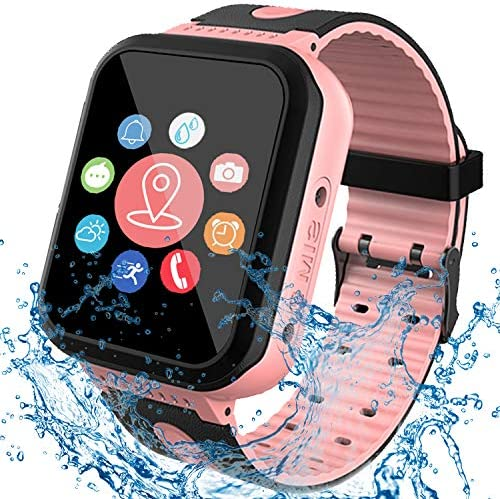 [IP68 Waterproof] Smart Watch for Kids, GPS Tracker Watch with SOS Alarm Clock Game Touch Screen Digital Wrist Smartwatch for Girls Boys Students Children Holiday Birthday Toys Gifts (Pink)