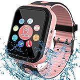 [IP67 Waterproof Phone Watch] Smartwatch for Kids, GPS Tracker with SOS Alarm Clock Game Wrist Smart Watch for Girls Boys Student Children Birthday Toys School Travel Outdoor (Pink)