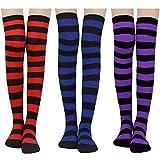 Damen Kniestrümpfe - Overknee Strümpfe Streifen Lange Socken Retro Knitting Strümpfe Mädchen Cheerleader Sportsocken Baumwollstrümpfe (Rot+Blau+Lila)