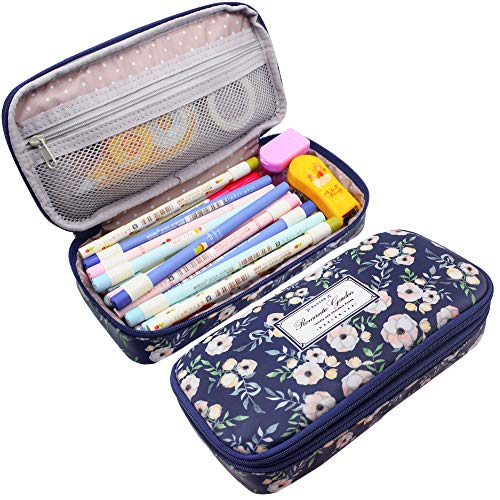 Twinkle Club Big Capacity Pencil Pen Case Bag Pouch Holder for Middle High School College Office Girl Storage Cyan