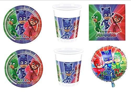 PJ Masks Super pigiamini coordonné décorations fête – Kit N ° 11 CDC- (32, 32 verres, 40 assiettes 40 serviettes, 1 ballon Foil)