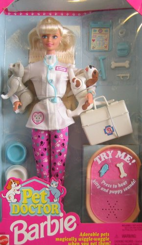 1996 Barbie Pet Doctor with dogs and cat (adorable pets