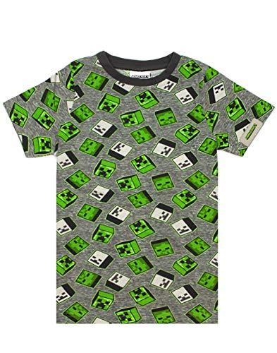 Drucken Mine All Over Creeper Zombies Grau/Grün Jungen Baumwoll-T-Shirt