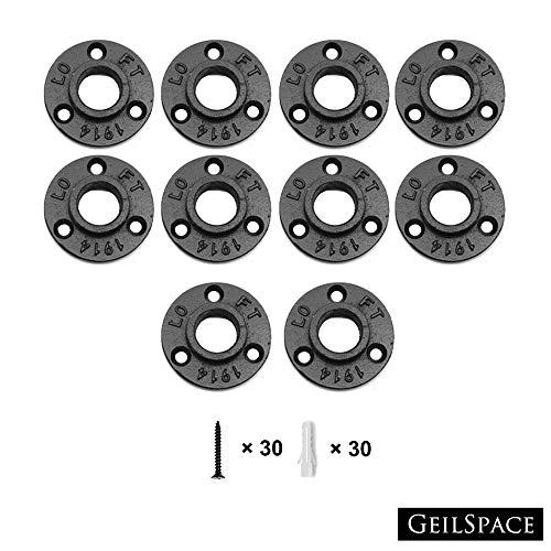 GeilSpace Schwarze formbare Eisenrohrarmaturen, Vintage, DIY, Industrie-Regal, Industrie-Dekor, Möbel, 1,9 cm (3/4 Zoll) Flange schwarz