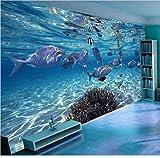 Fondo de pantalla 3D Dibujos animados Creativo Mundo submarino Vida marina Mural Niños Dormitorio Acuario Sala de estar Telón de fondo Papel de pared Decoración para el hogar-250cmx175cm