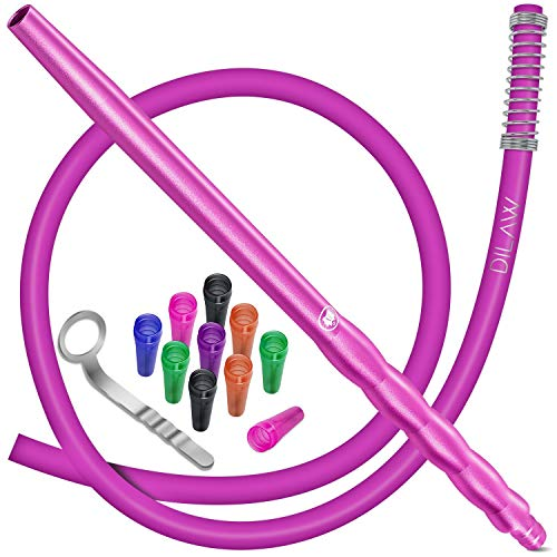 DILAW® Shisha Silikonschlauch Set mit Alu Mundstück inkl. 10 x Hygienemundstücke + Schlauchhalter + Knickschutzfeder- Premium Schlauch 150cm Matt - für alle Wasserpfeifen - Zubehör, Farbe: Pink