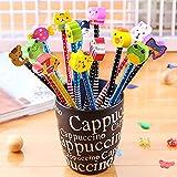 McNory 40 Pcs Lápices Infantiles con Borrador Conjunto de lápiz de Dibujos Animados,lápiz de Madera con lápices de Color Grafito de Goma con borradores Material Escolar Regalo de los niños