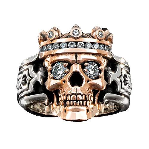 Anello da uomo con teschio di cristallo e zirconia cubica, anello per gotico, stile vintage, ideale come regalo per uomini e ragazzi e Lega, 19.8