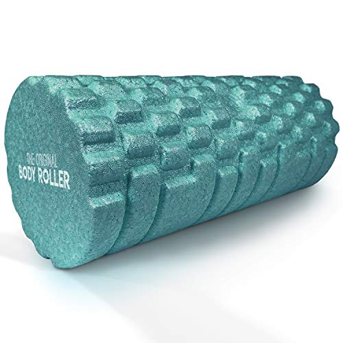 """The Original Body Roller - High Density Foam Roller Massager for Deep Tissue Massage of TheBack and Leg Muscles - Self Myofascial Release of Painful Trigger Point Muscle Adhesions - 13"""" Turquoise"""