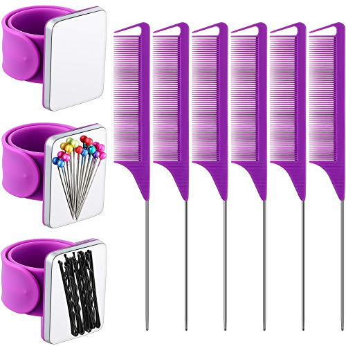 3 Pieces Magnetic Wrist Sewing Pincushion Wristband Magnetic Pin Cushion Holder and 6 Pieces Stainless Steel Pintail Comb Rat Tail Teasing Comb Hair Parting Comb for Girls (Purple)