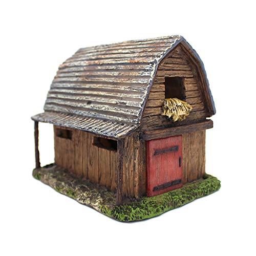 NW Wholesaler Fairy Garden Miniature Barn House with Working Door - 7 Inch Fairy Garden Home Detailed Fairy Garden House with Working Door