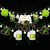 Hiboom Happy St. Patrick's Day Banner Lucky Shamrock Leprechaun Elf Green Hatand Beers Garland Banner with 2 Modes 6.9 ft 10 LEDs Clover String Lights for Irish Party Decoration Supplies
