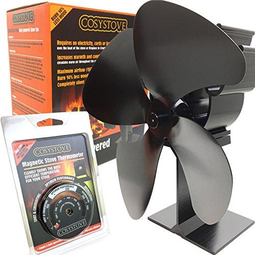 Cosystove Ofenventilator mit 4 Flügeln, geräuscharm, wärmebetrieben, für Holzbrenner, inkl. Rauchrohr-Thermometer, bessere Effizienz, für mehr Wärme