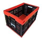 松本産業 業務用 折りたたみコンテナ 網目 50L (レッド/ブラック) カード差し付き (50ARBL)