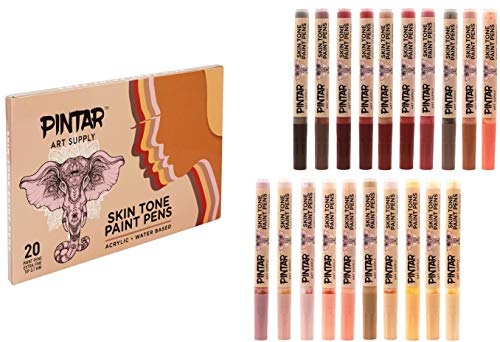 Pintar Skin Tone Paint Pens and Water-Based Marker 20 Pack Set   0.7MM Extra Fine Tip for Outlining, Rock Painting, Drawing on Canvas, Tiles, Non-Stick Surfaces   Quick Dry Action Markers