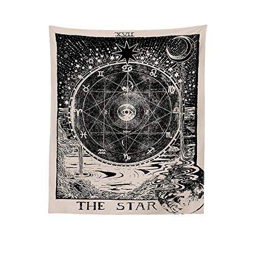 Peahop AidmonrR Tarot Tapisserie Mittelalterliche Europa Divination Tapisserie Mysteriöse Wandteppiche Sonne & Mond & Stern 51' Zoll × 59' Zoll,