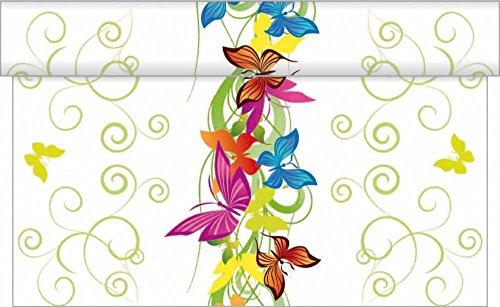 Sovie Home Tischläufer Papillon   Linclass® Airlaid 40cm x 4,80m   saugstark praktisch   Schmetterling Party Garten
