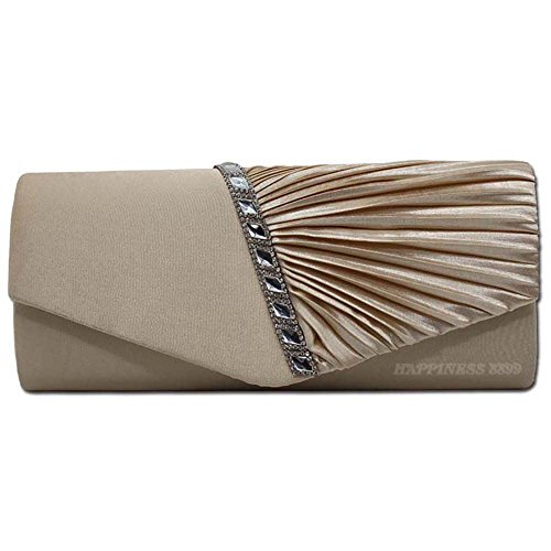 Wocharm Damen-Handtasche, plissiert, mit Kristallbesatz, Weiß / Silber / Gold / Rot / Schwarz, Weiß - aprikose - Größe: Large