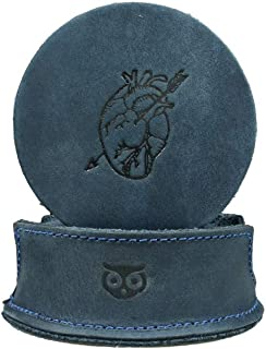 Durable Thick Leather Moon, Star and Heart Coasters (6-Pack) Handmade by Hide & Drink :: Slate Blue