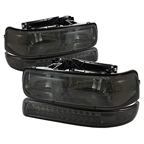 Xtune for 1999-2002 Silverado, 2000-2006 Tahoe/Suburban Smoked Headlights + LED Bumper Lights Pair Left+Right 2000 2001