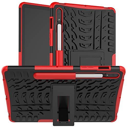 Xyamzhnn Funda telefónica para Samsung Galaxy Tab S7 T870 / T875 Textura de neumáticos TPU + PC Cubierta Protectora con Titular (Color : Red)