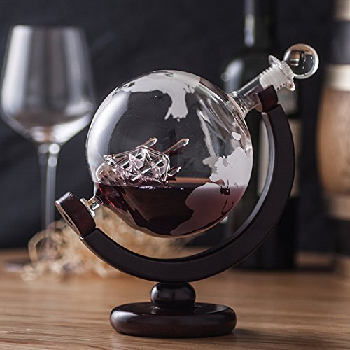 ZARIFINTERNATIONALデカンタスコッチウイスキーワインスピリッツウォッカアンティークシップ付き地球儀