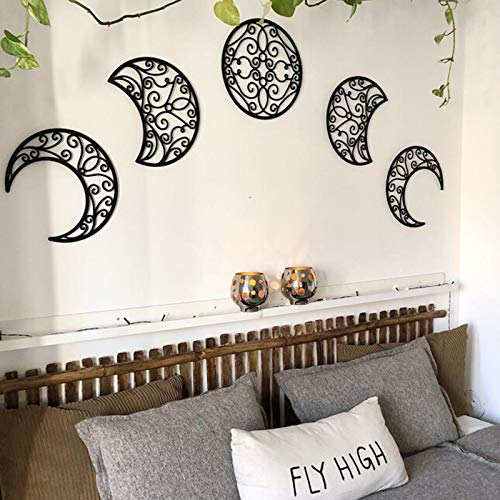 ZS ZHISHANG 5pcs Moon Phase Bedroom Wall Decor Above Bed Hanging Wooden DIY Headboard Aesthetic Wall Decor for Wedding Home Office Nursery