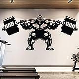 Calcomanía de pared de gimnasio de gorila levantamiento de gorila Fitness motivación musculatura barra vinilo pegatina gimnasio deporte póster 57x25cm
