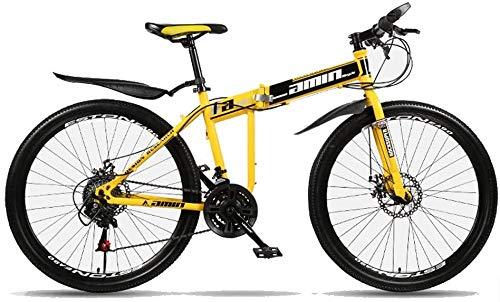 Bck 26 pollici 21 Velocità Teens MTB Bici Sport esterni Pioggia Strada montana 26 pollici pieghevole mountain bike I raggi sono altamente abbinato Telaio Doppio freno a disco in acciaio al carbonio ad