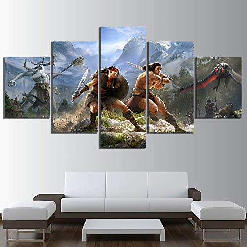 Juego de 5 Piezas Art Print Poster HD Mural Canvas Home Decoration Wall Art,Pintura sin Marco,40x60cmx2, 40x80cmx2, 40x100cmx1