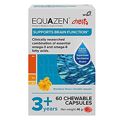 Equazen Childrens Chews | Omega 3 & Omega 6 Supplement | 60 Strawberry Flavoured Chews | Clinically Researched Blend of DHA, EPA and GLA | Suitable for Children from 3 Years to Adult