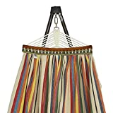 BAN MAI Folding Hammock for 2 Persons, Large Metal Hammock Frame + Canvas Hammock, with Space Saving Steel Stand (500lb Capacity – Strong Carry Bag Included) (Ivory Frame-Ivory Canvas)