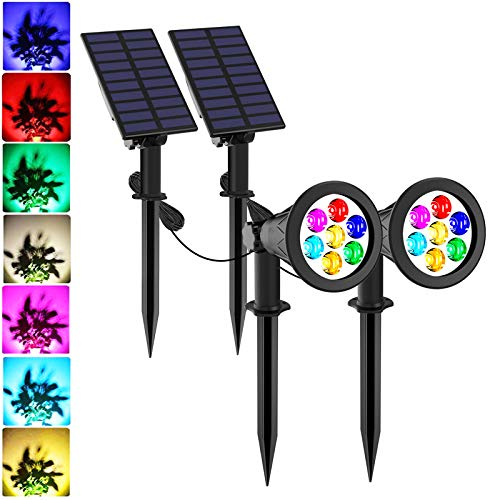 Solar Spotlights, T-SUNUS Color Changing 7 LED Waterproof Outdoor Garden Wall Lights, Auto-on/Off, 180 Angle Adjustable Landscape Light, Separately Installed for Outdoor/Indoor Pack of 2 (7 Color)