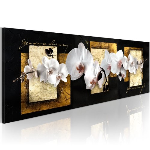 murando Cuadros impresos en lienzo que brillan en la oscuridad 120x40 cm 1 pieza noche y día cuadros de pared pinturas fosforescentes lienzo de tejido no tejido Abstracto Flores Orquidea b-A-0359-ag-a