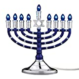 Rite Lite Electric Hanukkah Menorah with Blue Bulbs - Hanukkah Menorah 11.50' h - Includes a Cable Blue/Silver